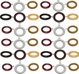 Bien Qualité En Bois Tringle à Rideau Rod Spare Anneaux Crochets 3 Tailles 6 Couleurs-afficher Le Titre D'origine Forfaits à La Mode Et Attrayants