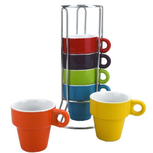 SET OF 6 COLOURED CERAMIC ESPRESSO MINI COFFEE MUG CUP CHROME STAND GIFT