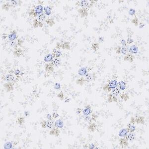 Blumen Tapete blau beige  Rasch Textil Petite Fleur  285047
