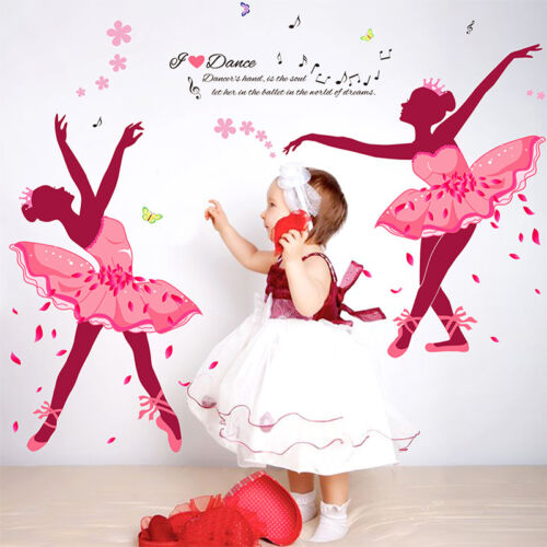 60x90cm Wall Sticker Pink Ballet Girl Mural Living room Bedroom Background Decal