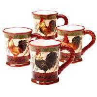 Certified International 16-ounce Assorted Design Tuscan Rooster Mug set Of 4 Kitchen on Sale