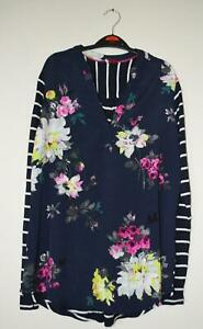 NEW-EX-JOULES-UK-SIZE-10-12-NAVY-PINK-FLORAL-BEATRICE-PART-JERSEY-BLOUSE-TOP