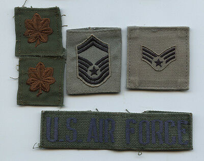 Lot of 4 USAF Rank Patches And 1 US Air Force Tape