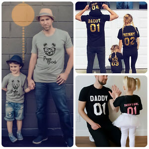 20fcd1c2 Image is loading Family-Matching-Outfits-T-shirt-Mother-Father-Daughter-