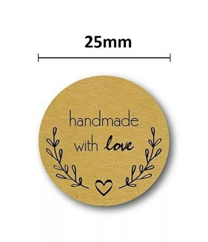 Round Thank You Hand Made With Love Labels Stickers Gift Food Craft 2.5cm