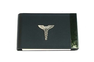 RüCksichtsvoll Caduceus Staff Black Pu And Metal Business Or Credit Card Holder Caduceus Gift 5
