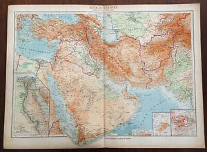 Cartina Politica Asia.Atlante Geografico Universale 1940 Asia Anteriore Carta Fisico Politica Ebay