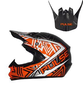 PULSE-TORNADO-ORANGE-MOTOCROSS-MX-ENDURO-QUAD-ATV-HELMET-WITH-REPLACEMENT-PEAK