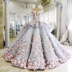 Flower-Applique-Quinceanera-Dress-Gorgeous-Formal-Prom-Pageant-Wedding-Ball-Gown