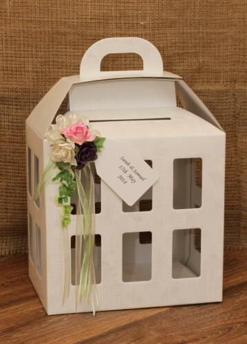 Personalised wedding post card box country roses wishing well centrepiece