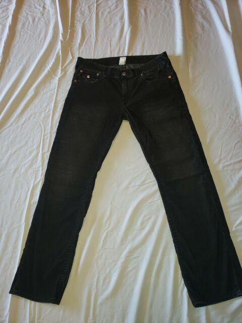 True Religion Ricky Relaxed Straight Leg Pants Corduroy Black Size 36x34 Men's