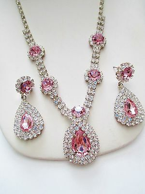 Vintage Rhinestone Pretty In Pink Demi Parure Necklace Dangle Earrings Stunning