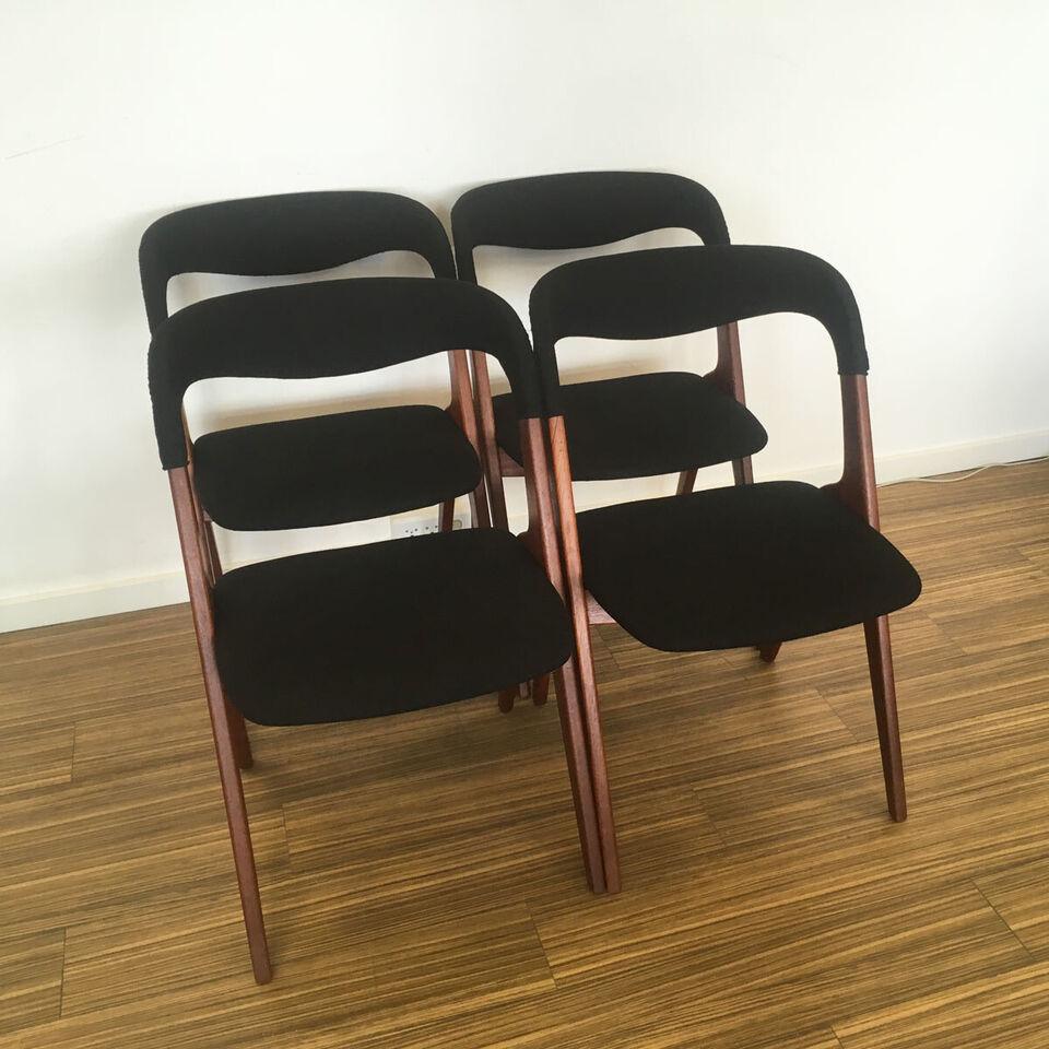 Spisebordsstole, nyt sort uldstof, teak, 4 stk. – dba.dk