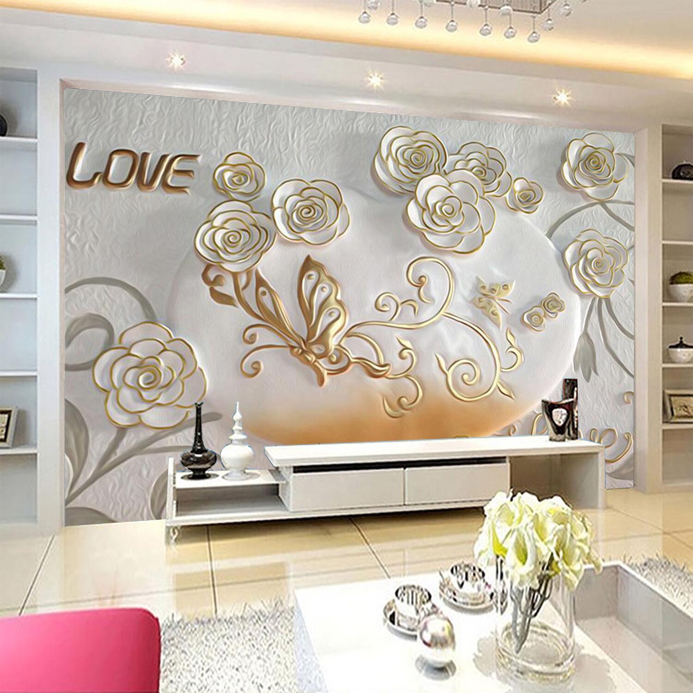 3D Flowers Butterflies 729 Wallpaper Decal Dercor Home Kids Nursery Mural  Home