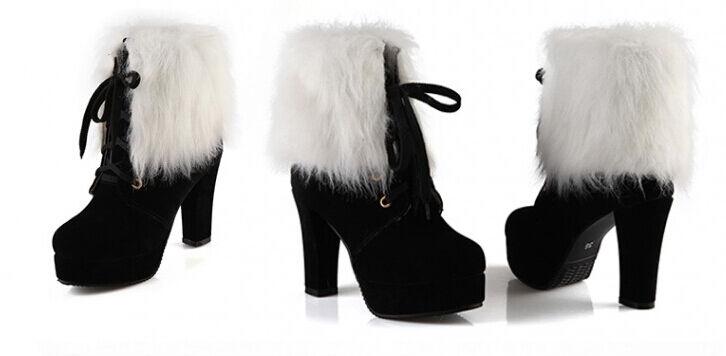 Bottines bottes chaussures Talon 13 noir Chaud Confortable Cuir Synthetique 9090