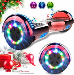 """HOVERBOARD 6.5"""" LUCI LED E BLUETOOTH SPEAKER SCOOTER OVERBOARD E-SCOOTER ROSSO"""