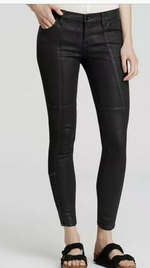 Free People Coated Jillian Moto Leatherette Skinny Jegging Pants 26  98