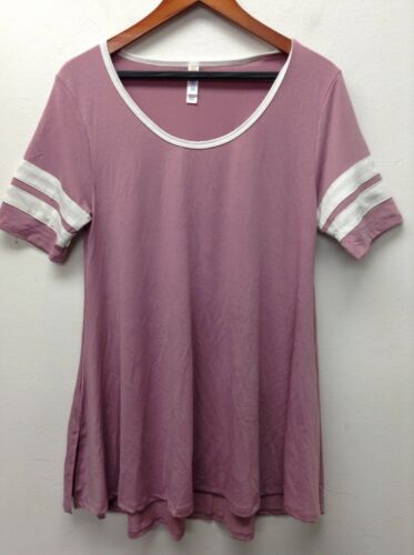 * LuLaRoe Pink//White Perfect Scoop Stretch T-Shirt Top Purple RARE tonic