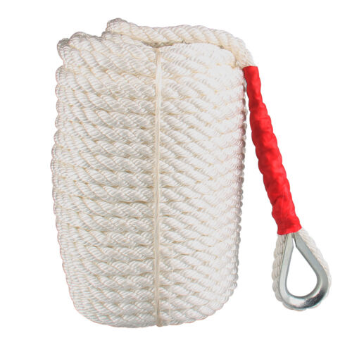 """3//4/""""x200/' Twisted Three Strand ANCHOR ROPE DOCK LINE 100/% Nylon with Thimble US"""