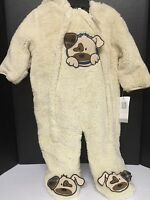 Boys Infant One Piece Jumpsuit Jacket 6/9 Months Dog Design Beige Outerwear