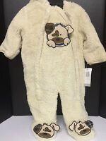 Boys Infant One Piece Jumpsuit Jacket 6/9 Months Dog Design Beige Outerwear