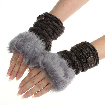 Women Winter Fashion Faux Rabbit Fur Girl Warm Wrist Fingerless Gloves Mittens J