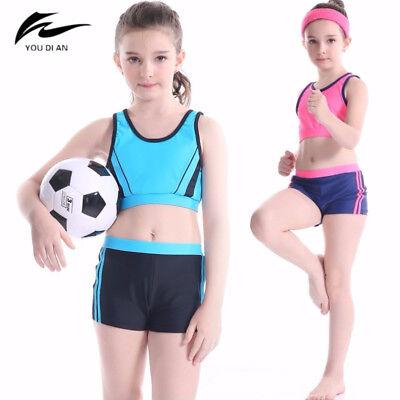 Professional Girls Swimwear Two Pieces Swimsuit Children Kids Sports Swim  Shorts | eBay