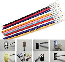 12pcs Tiny Acrylic Nail Art Tips Liner Painting Drawing Colorful Brush Pen Tools