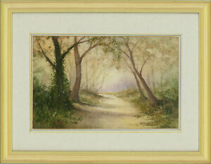 Ron-Moore-Signed-amp-Framed-Contemporary-Watercolour-Woodland-Meander