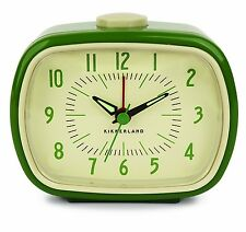 Kikkerland Retro Green Vintage Alarm Clock Glow In The Dark Hand Battery Operate