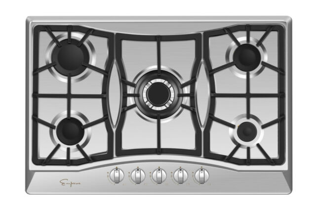 Empava 30 Inch Gas Stove Cooktop LPG//NG Convertible with 5 Italy SABAF Burners Tempered Glass in Black