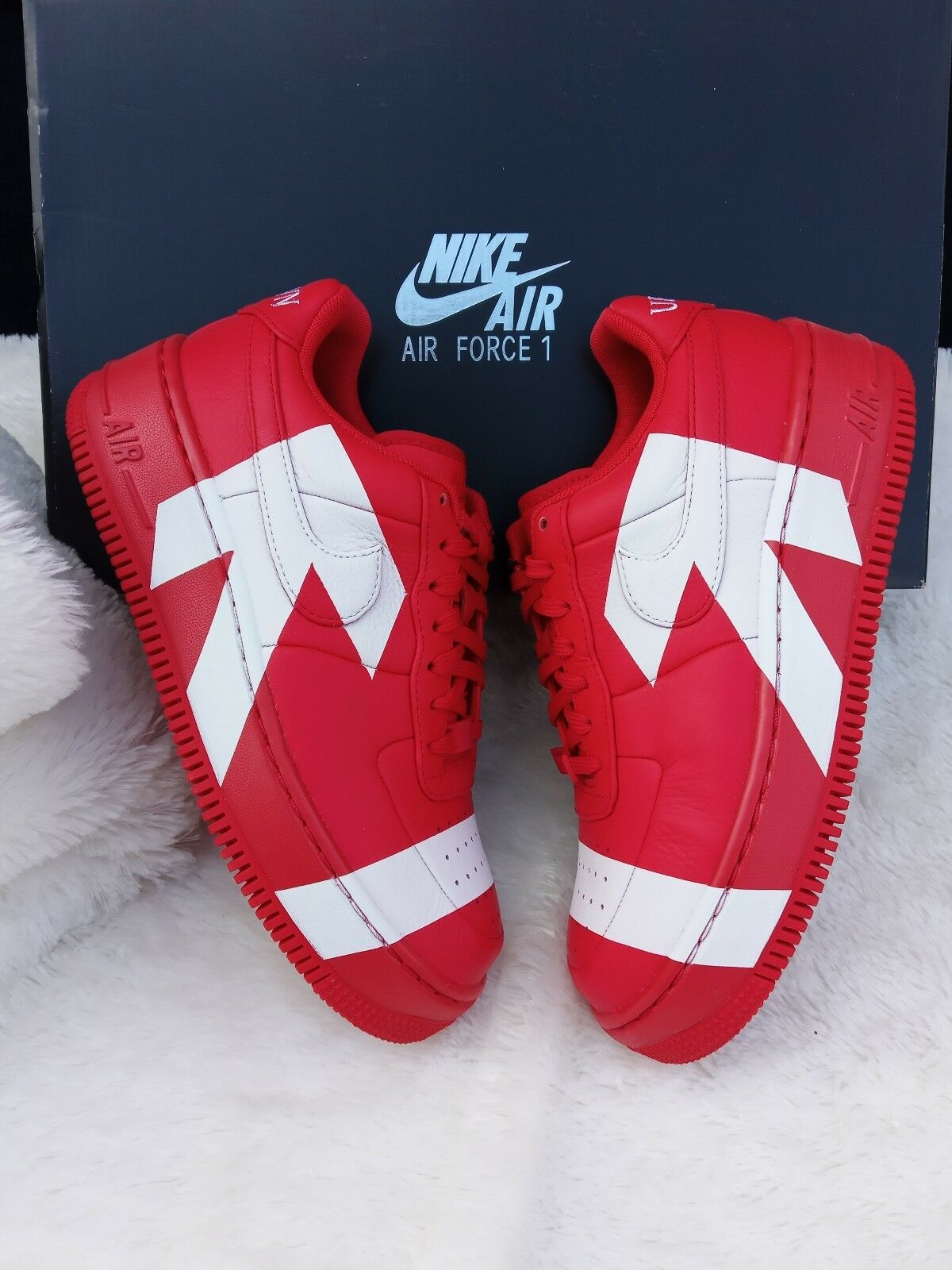 5.5 Women's w Nike Air Force 1 Upstep arrows Uptown 898421-601 Red white casual
