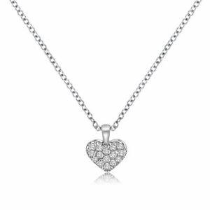 Wert-650-Diamant-Anhaenger-Herz-Kette-750-Collier-18K-Weissgold-Brillant-0-07-ct