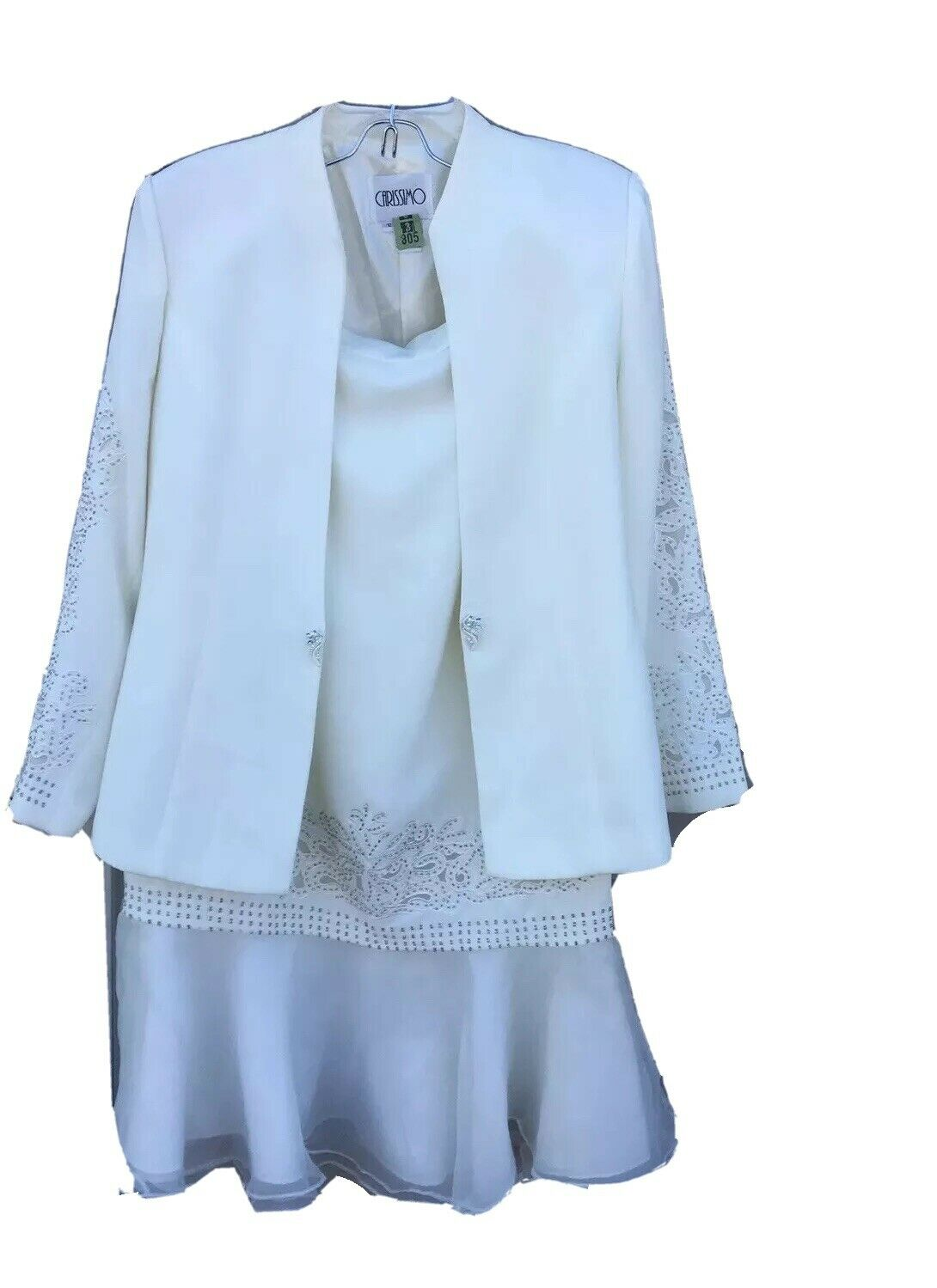 Carissimo White Embellished Beaded Formal/ Special Occasion Skirt Suit Size 12