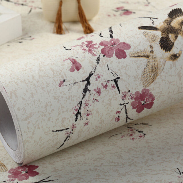 Vintage Floral Bird Contact Paper Self Adhesive Rustic Wallpaper Roll Home Decor