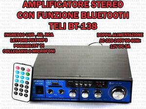 AMPLIFICATORE-AUDIO-HIFI-USB-12V-220V-SD-MP3-RADIO-FM-BLUETOOTH-INGRESSO-2-MIC
