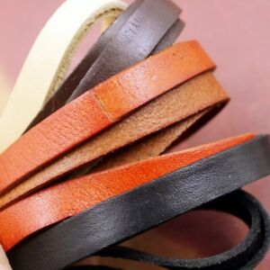 Real-Genuine-Leather-Flat-Cord-Strap-Rope-String-DIY-Craft-Bracelet-Fabric-Trims