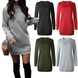 Women-Ladies-Winter-Sweatshirt-Long-Sleeve-Sweater-Hoodie-Jumper-Mini-Dress-Tops