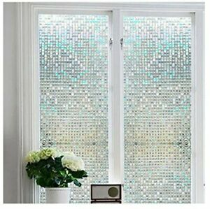 Faux Stained Glass Window Film Design Roll Shower Bubble Tint Large Sidelight 3d Ebay