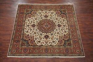 Details About Vintage 8x8 Square Wool Silk Hand Knotted Area Rug 50 Raj 8 3 X 8 3