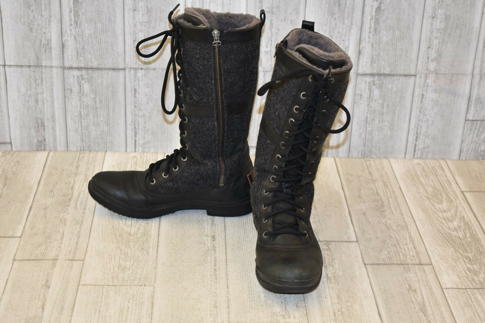 257120d5635 UGG Elvia Womens 1018473-blk Black Leather Textile Waterproof BOOTS Size 6