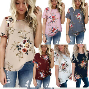 41fbd116 UK Plus Size Womens Holiday Tops Summer Beach Ladies Floral Blouse T ...