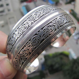 Tibetan-Silver-Plated-Tibets-Totem-Bangle-Jewelry-Cuff-Wide-Bracelet-Antic-Wo-pt