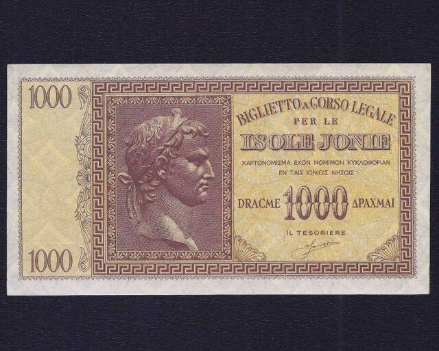 GREECE IONIAN ISLAND 1000 Drachmai  1941  P-M17  aUNC