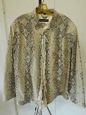 PAMELA MCCOY Leather Reptile Snake Print Lace Fringe Rhinestone Jacket Sz 3X