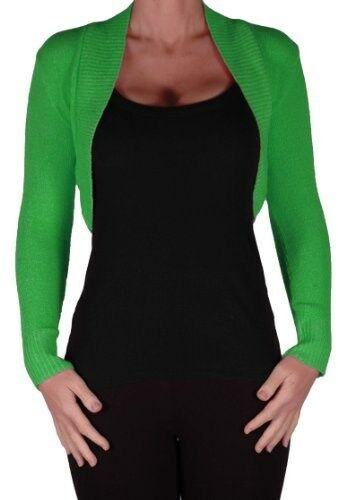 Womens Plain Long Sleeve Cropped Skinny Fit Casual Party Cardigan Ladies Shrugs