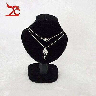 Black Mannequin Jewelry Display Stand Black Velvet Pendant Bust Holder TINY SIZE
