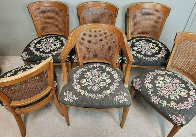 Lovely Vintage Set Of 6 HENREDON Cane Back Dining Chairs 1970\'s