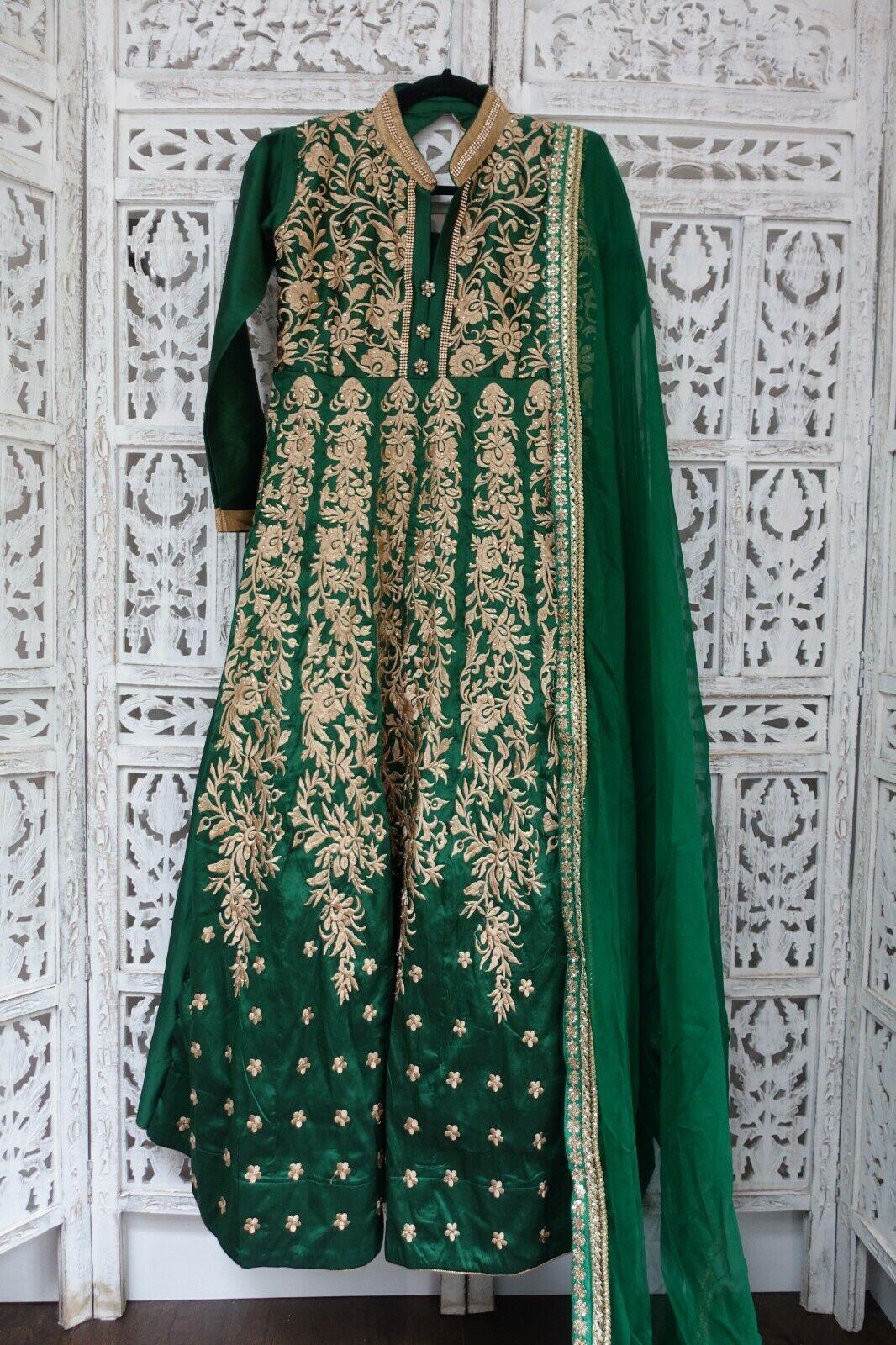 Green silk blend anarkali frock / gown - UK Size 8 /EU Size 34 SKU16636