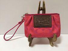 "Coach Poppy Wristlet Signature ""C"" Pink Fushia Jacquard Patent Piping Authentic"